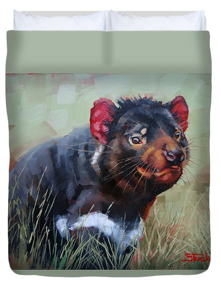Duvet Cover featuring the painting Tasmanian Devil by Margaret Stockdale
