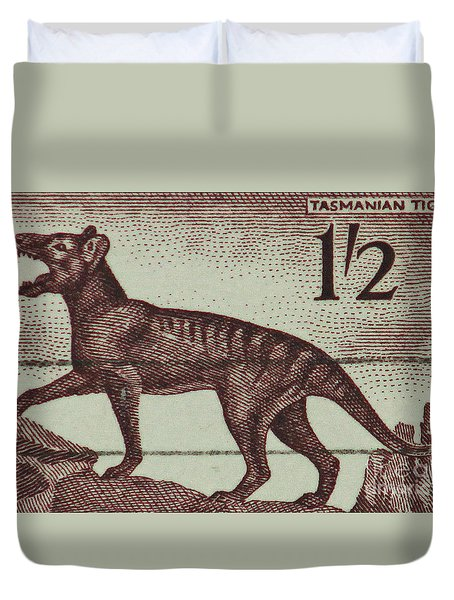 Tasmanian Tiger Vintage Postage Stamp Duvet Cover by Andy Prendy