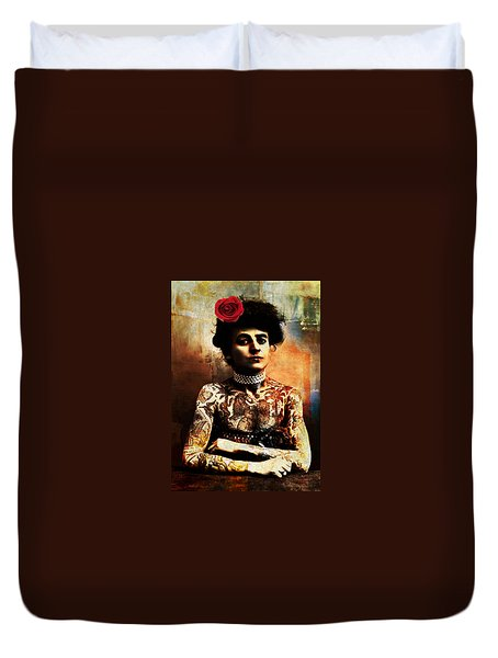 Tattoo Lady Duvet Cover
