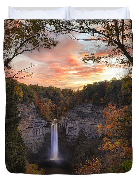 Taughannock Falls Autumn Sunset Duvet Cover