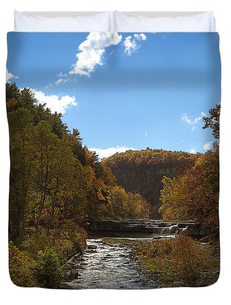 Duvet Cover featuring the photograph Taughannock Lower Falls Ithaca New York by Paul Ge