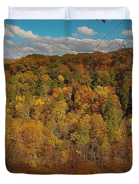 Duvet Cover featuring the photograph Taughannock River Canyon In Colorful Fall Ithaca New York II by Paul Ge