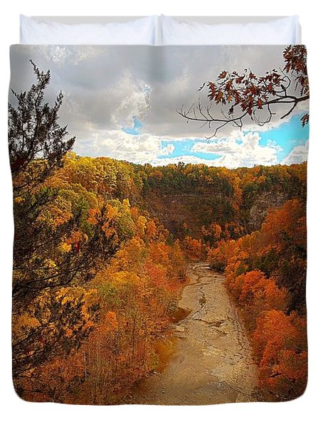 Duvet Cover featuring the painting Taughannock River Canyon In Colorful Fall Ithaca New York IIi by Paul Ge