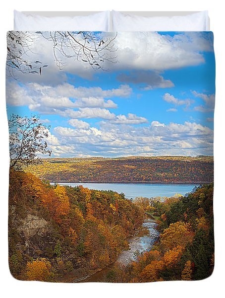 Duvet Cover featuring the painting Taughannock River Canyon In Colorful Fall Ithaca New York Iv by Paul Ge