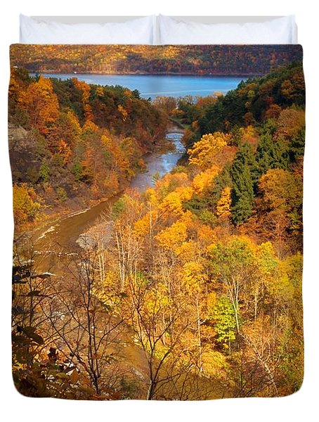 Duvet Cover featuring the photograph Taughannock River Canyon In Colorful Fall Ithaca New York by Paul Ge
