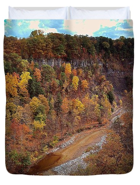 Duvet Cover featuring the painting Taughannock River Canyon In Colorful Fall Ithaca New York V by Paul Ge