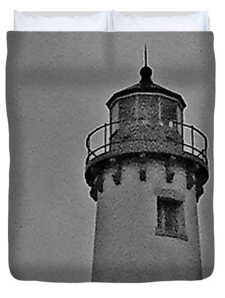 Duvet Cover featuring the photograph Tawas Point In The Rain by Daniel Thompson