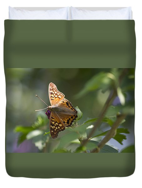 Tawny Emperor On Hibiscus Duvet Cover by Shelly Gunderson