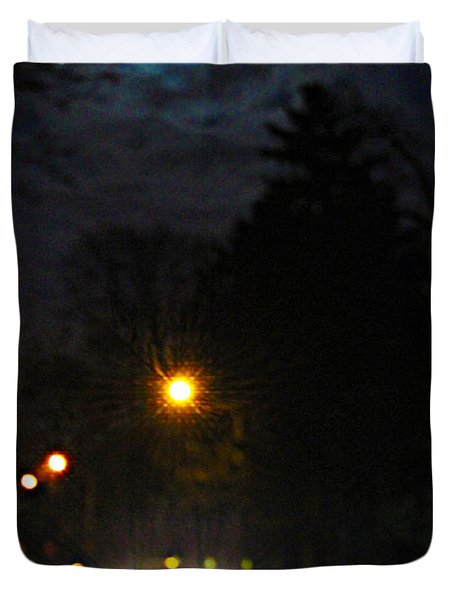 Duvet Cover featuring the photograph Taxi In Full Moon by Nina Silver