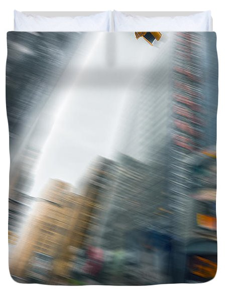 Taxi On Times Square Duvet Cover