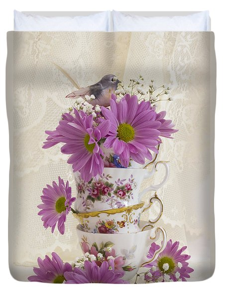 Tea Cups And Daisies  Duvet Cover