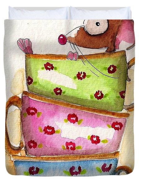 Tea For One Duvet Cover by Lucia Stewart