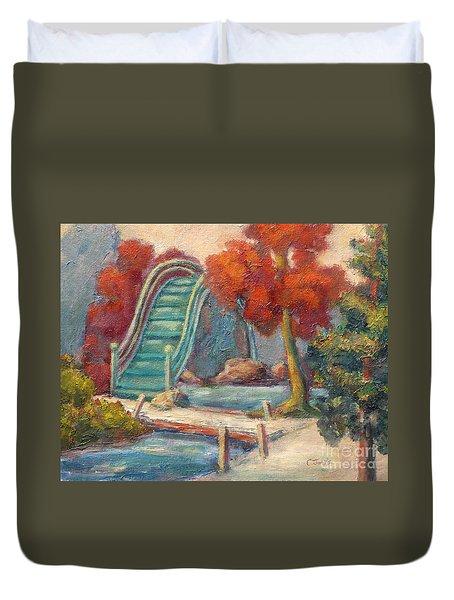 Tea Garden Bridge Duvet Cover