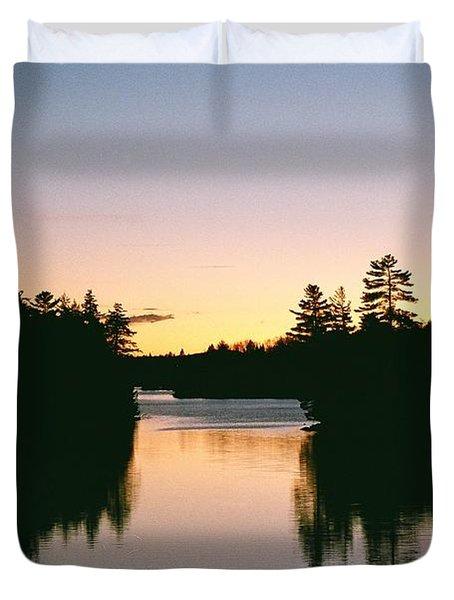 Tea Lake Sunset Duvet Cover by David Porteus