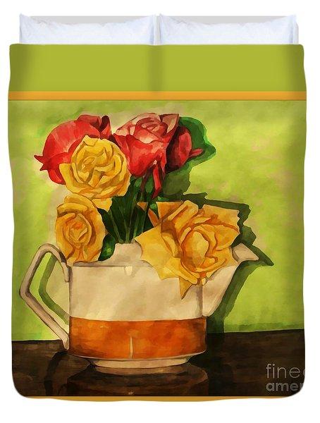 Tea Roses Bordered Duvet Cover