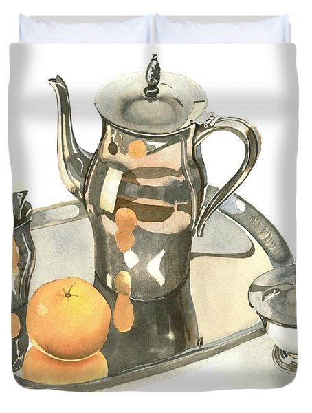 Tea Service With Orange Dramatic Duvet Cover by Kip DeVore