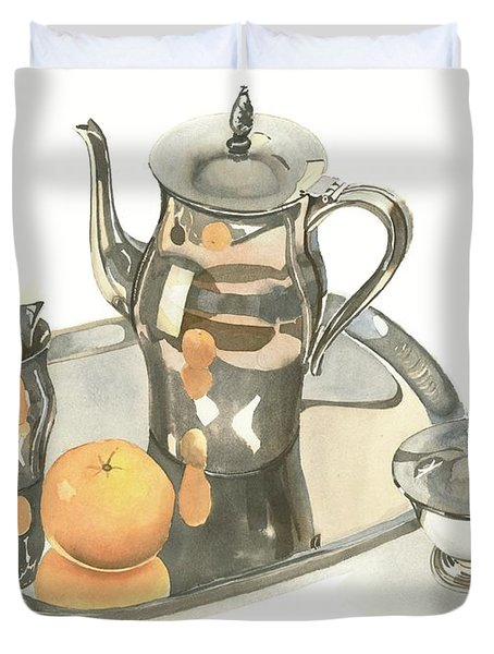 Tea Service With Orange Duvet Cover