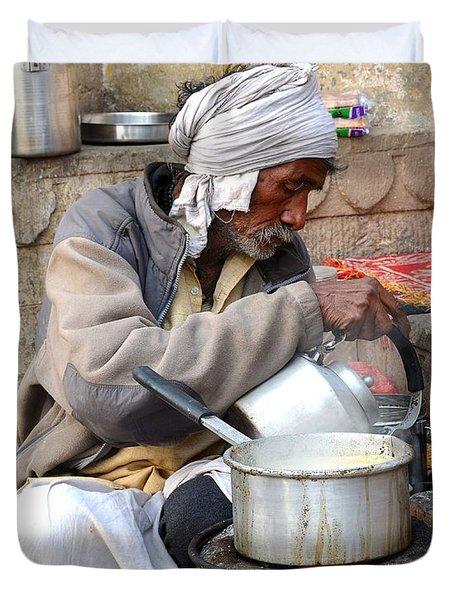 Tea Stall On The Ghats  - Varanasi India Duvet Cover