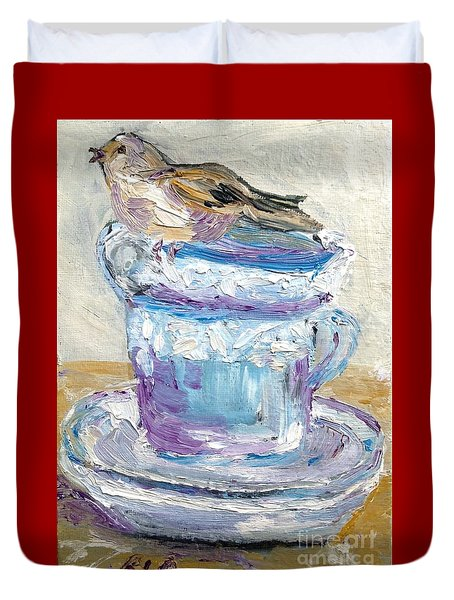 Duvet Cover featuring the painting Tea Time  by Reina Resto