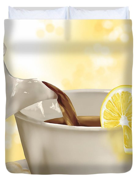 Tea Time Duvet Cover by Veronica Minozzi