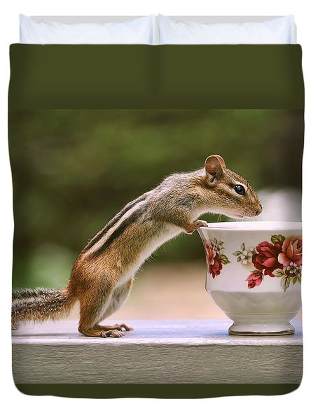 Tea Time With Chipmunk Duvet Cover