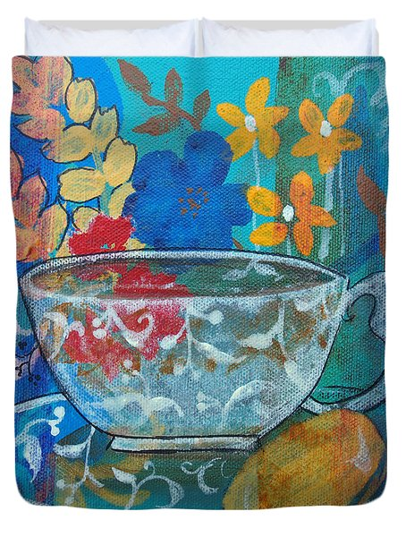 Duvet Cover featuring the painting Tea With Biscuit by Robin Maria Pedrero