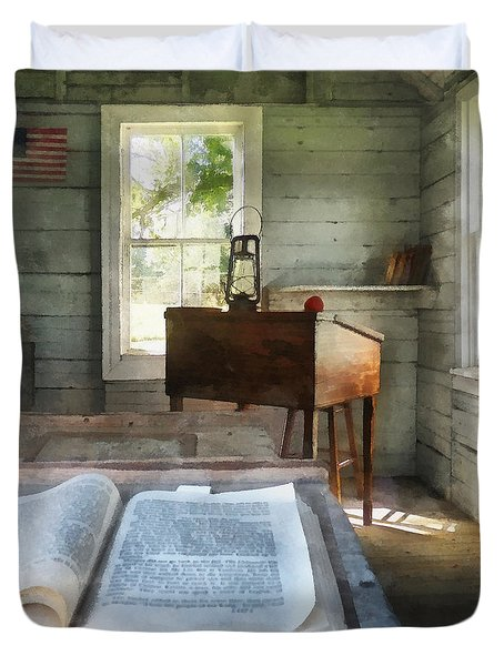 Teacher - One Room Schoolhouse With Book Duvet Cover by Susan Savad