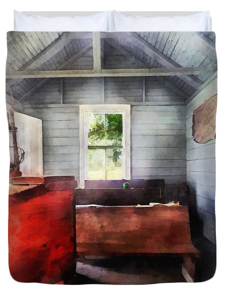 Teacher - One Room Schoolhouse With Hurricane Lamp Duvet Cover by Susan Savad