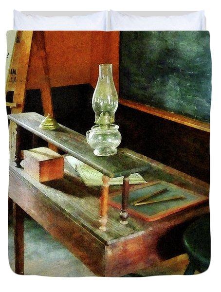 Teacher's Desk With Hurricane Lamp Duvet Cover
