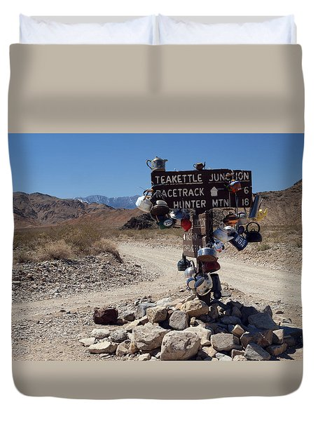Duvet Cover featuring the photograph Teakettle Junction by Joe Schofield