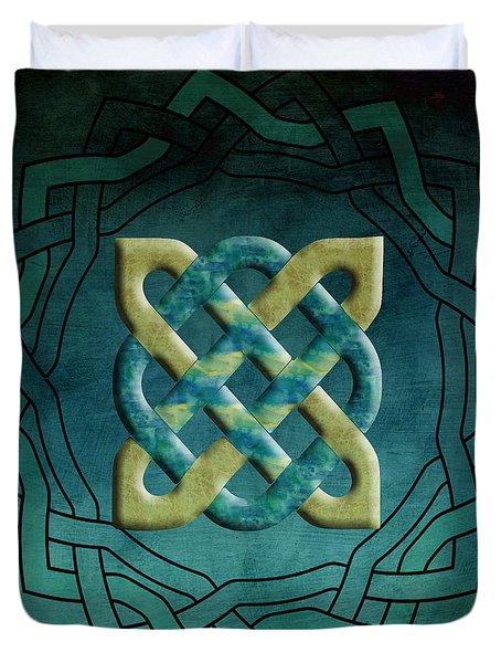 Teal And Gold Celtic Circle Duvet Cover