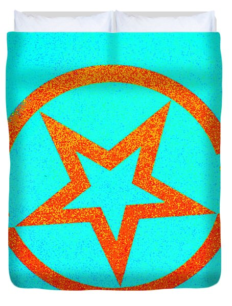 Teal And Rust Fighter Star Duvet Cover by Holly Blunkall