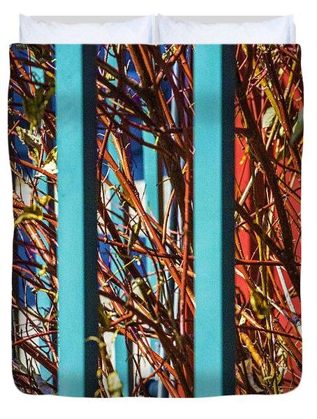Teal Fence Duvet Cover