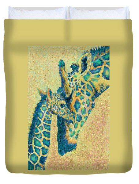 Teal Giraffes Duvet Cover
