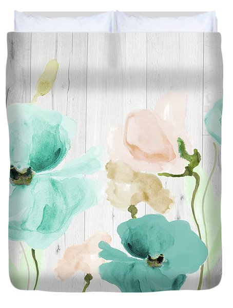 Teal Poppies On Wood Duvet Cover