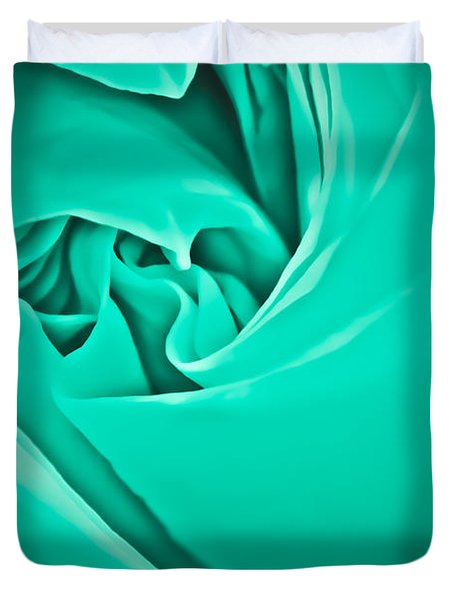 Duvet Cover featuring the photograph Teal Rose-duvet Cover by  Onyonet  Photo Studios