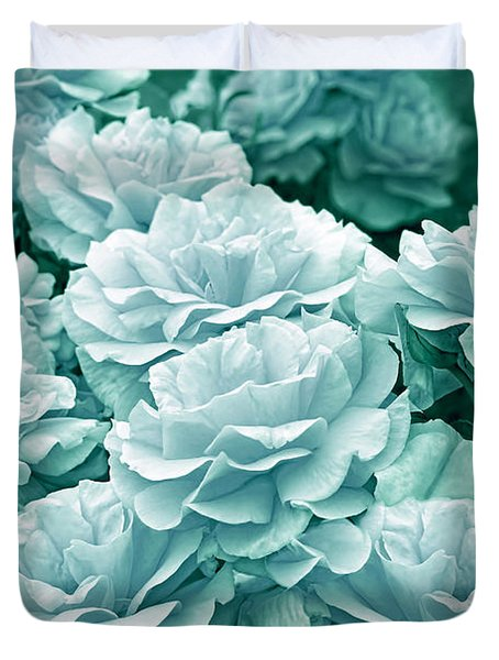 Teal Roses In The Garden Duvet Cover