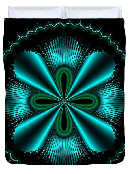 Teal Wheel Mandelbrot Duvet Cover by Faye Symons