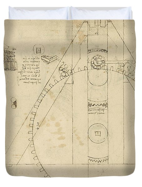Teaseling Machine From Atlantic Codex Duvet Cover by Leonardo Da Vinci