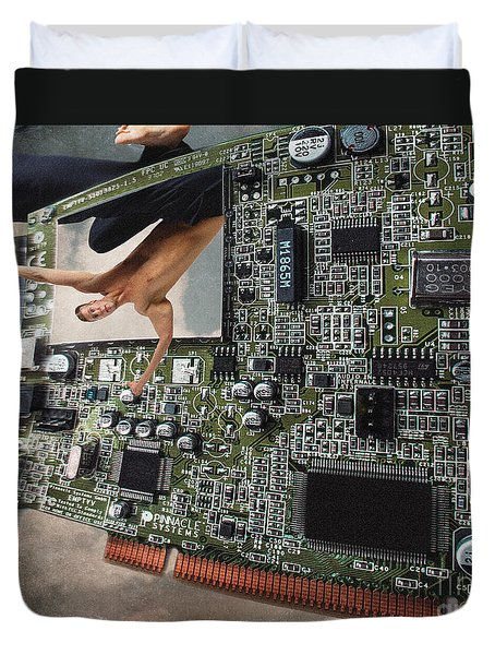 Circuit Board Electronic Art Technobat Abstract Duvet Cover