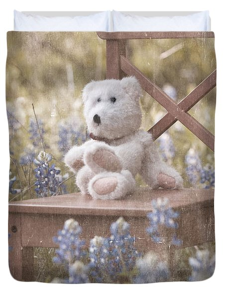 Teddy Bear And Texas Bluebonnets Duvet Cover