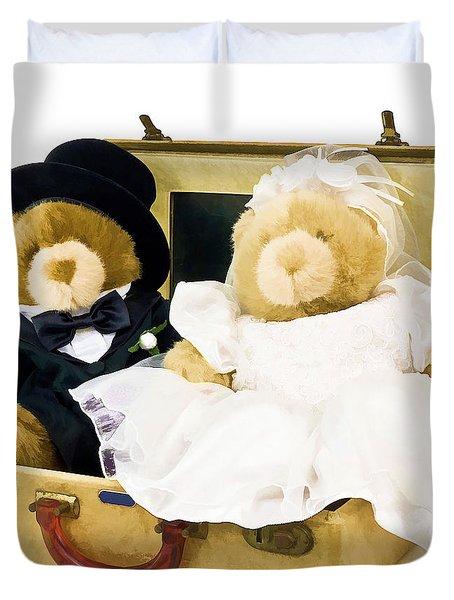 Teddy Bear Honeymoon Duvet Cover by Edward Fielding