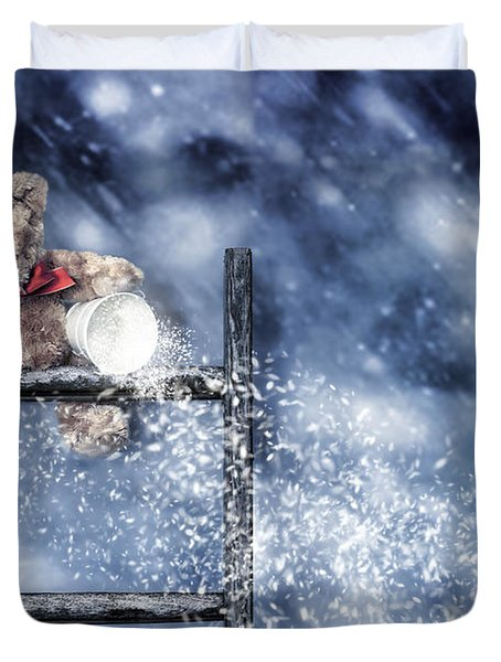 Teddy Throwing Snow Duvet Cover