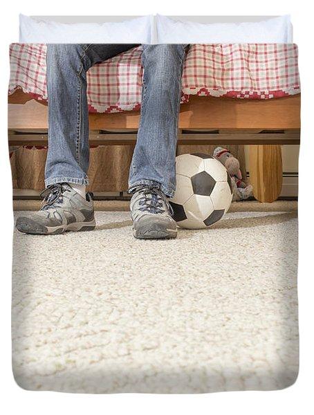 Teen Boy In Bedroom Duvet Cover