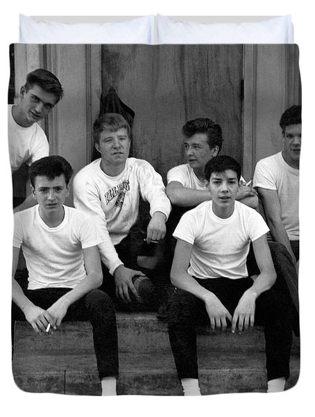 Teenage Boys On A Step Duvet Cover