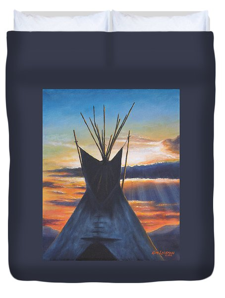 Teepee At Sunset Part 1 Duvet Cover