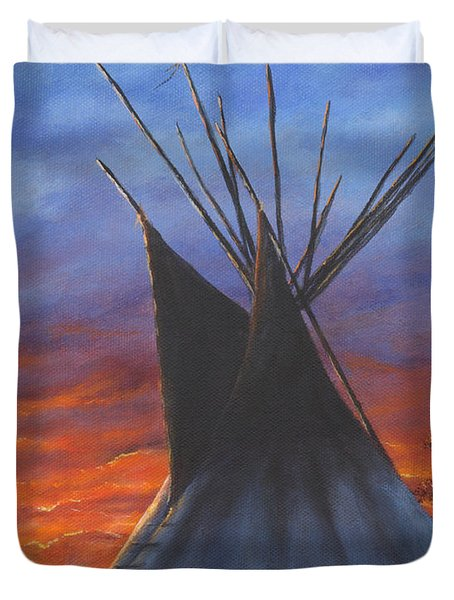 Teepee At Sunset Part 2 Duvet Cover