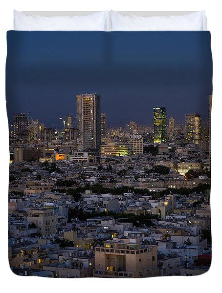Duvet Cover featuring the photograph Tel Aviv At The Twilight Magic Hour by Ron Shoshani