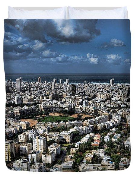 Duvet Cover featuring the photograph Tel Aviv Center by Ron Shoshani