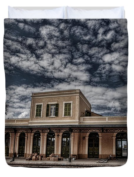 Duvet Cover featuring the photograph Tel Aviv First Railway Station by Ron Shoshani